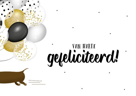 Verjaardagskaart teckel met grote bos ballonnen 2