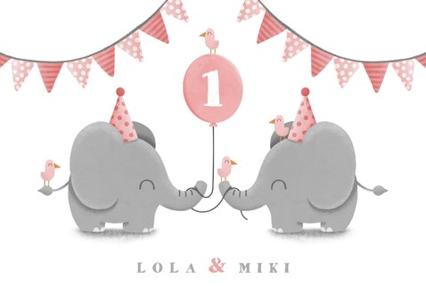Verjaardagskaart tweeling olifantjes met slingers en ballon 2