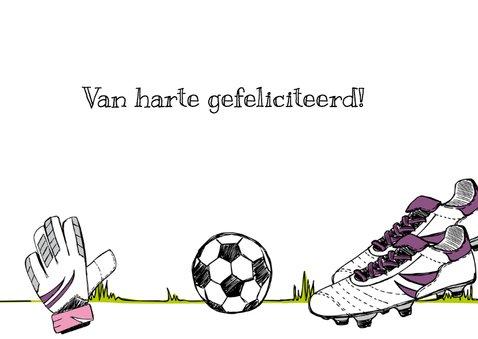 Verjaardagskaart voetbal en naam 3