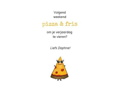 Verjaardagskaart voor pizzaliefhebbers met slinger van pizza 3