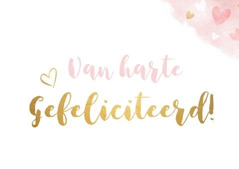 Verjaardagskaart vrouw - roze waterverf met gouden hartjes 2