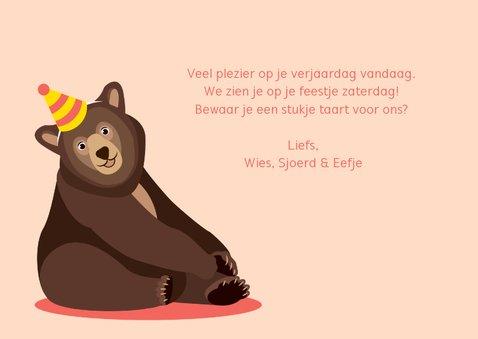 Verjaardagskaartje met vrolijk lachende beer 3