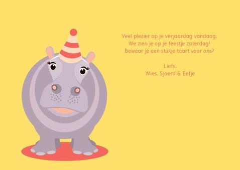 Verjaardagskaartje met vrolijk nijlpaard 3