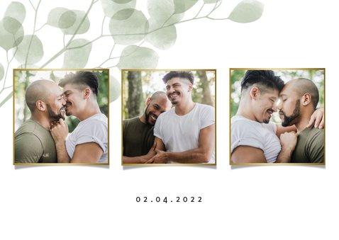 Verlovingskaart waterverf eucalyptus gouden 'we are engaged' 2
