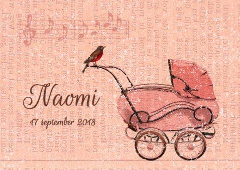 Vintage kinderwagen roze 2