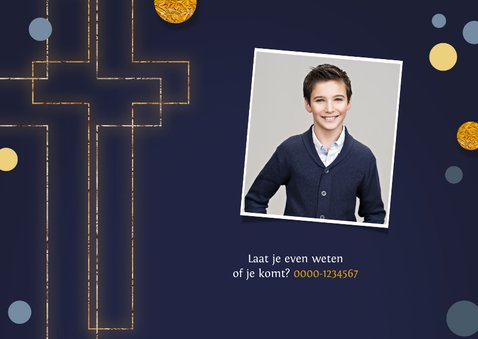 Vormsel communie uitnodiging goud kruis confetti 2