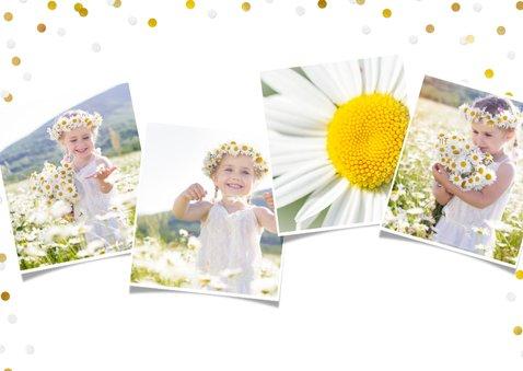 Vrolijk bedankkaartje eerste communie meisje met foto's 2