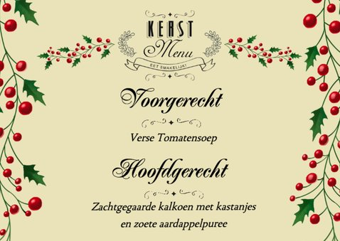 Vrolijk kerst menukaart met diertjes 2