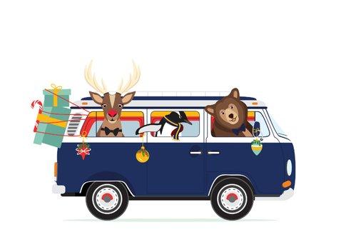 Vrolijk Volkswagen busje vol lieve kerst diertjes 3