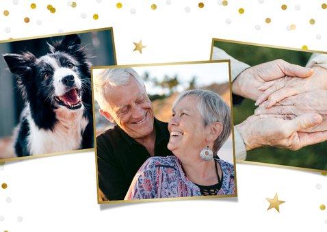 Vrolijke confetti uitnodiging huwelijksjubileum eigen foto 2
