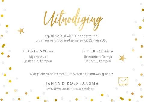 Vrolijke confetti uitnodiging huwelijksjubileum eigen foto 3