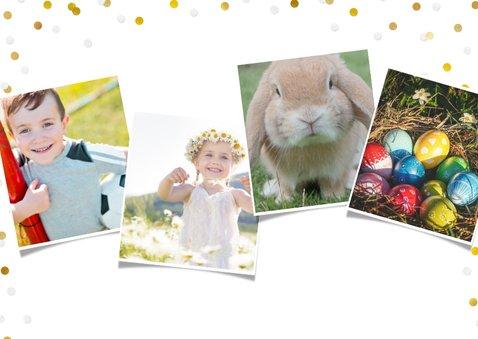 Vrolijke fotocollage paaskaart met eigen foto's en confetti 2