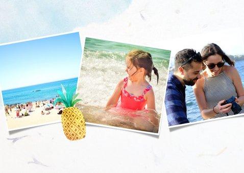 Vrolijke fotocollagekaart zomervakantie met 3 foto's en ijs 2