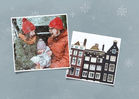 Vrolijke kerst-verhuiskaart kerstman in pickup en foto 2