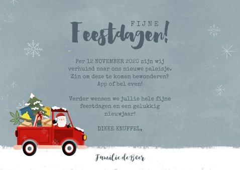 Vrolijke kerst-verhuiskaart kerstman in pickup en foto 3