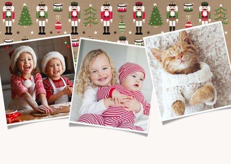 Vrolijke kerstkaart met notenkraker patroon en eigen foto 2