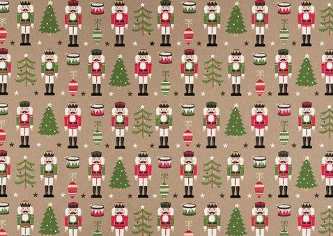 Vrolijke kerstkaart met notenkraker patroon en eigen foto Achterkant