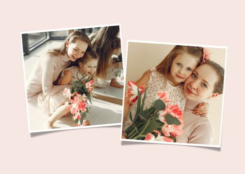 Vrolijke moederdag kaart met bosje bloemen en foto 2