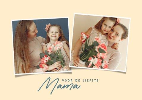 Vrolijke moederdag kaart met ontbijtje, bloemen en foto 2