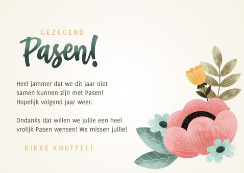 Vrolijke Paaskaart met bloemen en gezegend Pasen! 3