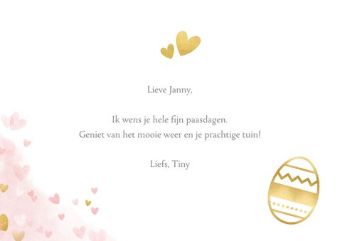 Vrolijke paaskaart met gouden hartjes en roze waterverf 3