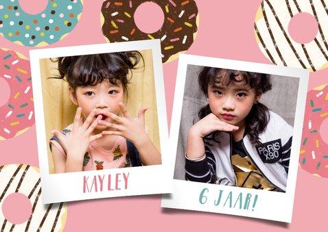 Vrolijke uitnodiging kinderfeestje met donuts en foto's 2