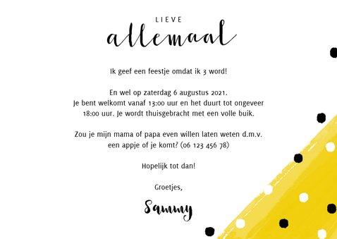 Vrolijke uitnodiging kinderfeestje met verf en confetti 3