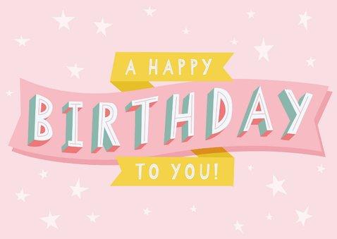 Vrolijke verjaardagskaart met typografie en sterren 2