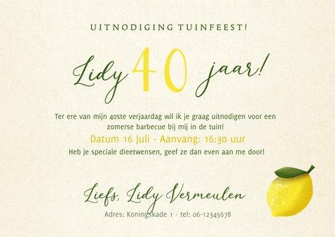 Vrolijke zomerse uitnodiging verjaardagsfeest of tuinfeest 3