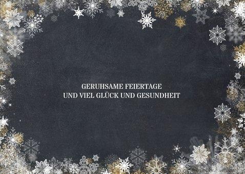 Weihnachtskarte drei Fotos und Schneeflocken 2