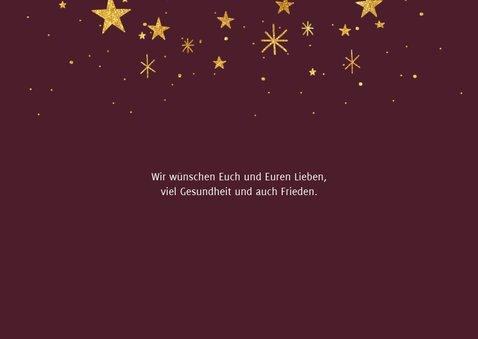 Weihnachtskarte elegantes rot mit Foto und Sternen 2
