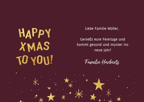 Weihnachtskarte elegantes rot mit Foto und Sternen 3