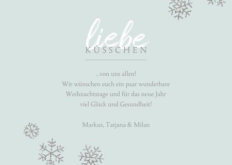 Weihnachtskarte Foto 'liebe Küsschen' blau 3
