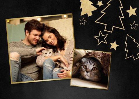 Weihnachtskarte Foto und goldene Tannenbäume 2