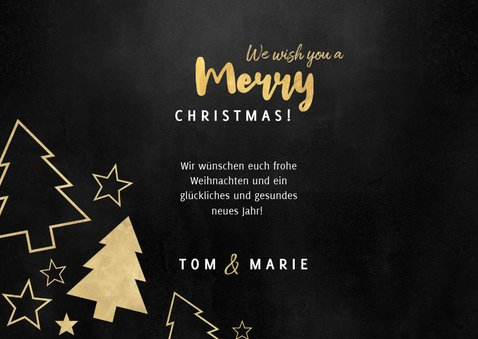 Weihnachtskarte Foto und goldene Tannenbäume 3