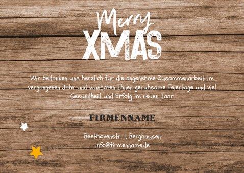 Weihnachtskarte geschäftlich Holzlook, Sterne und Stempel 3