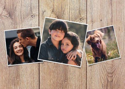 Weihnachtskarte im Holz- und Kreidelook mit Fotos 2