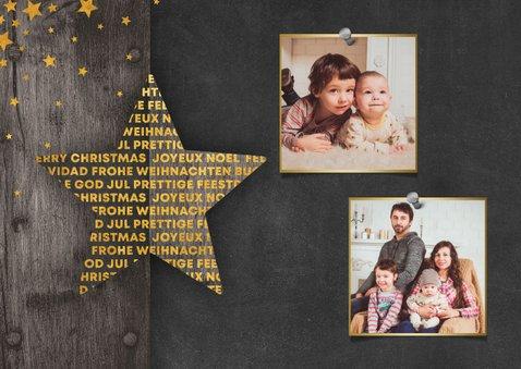 Weihnachtskarte im Holzlook mit Stern und 2 Fotos 2