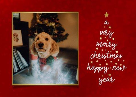 Weihnachtskarte in Rot mit Foto in Goldrahmen 2