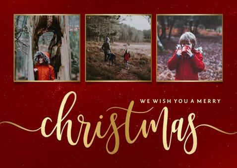 Weihnachtskarte in Rot mit Fotos und Goldschrift 2