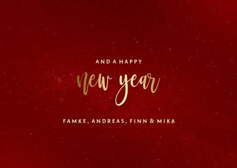 Weihnachtskarte in Rot mit Fotos und Goldschrift 3