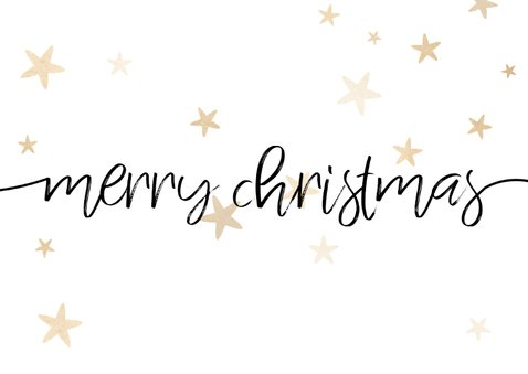Weihnachtskarte mit drei Fotos, Sternen und merry christmas 2