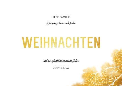 Weihnachtskarte mit Foto und goldenen Blättern 3