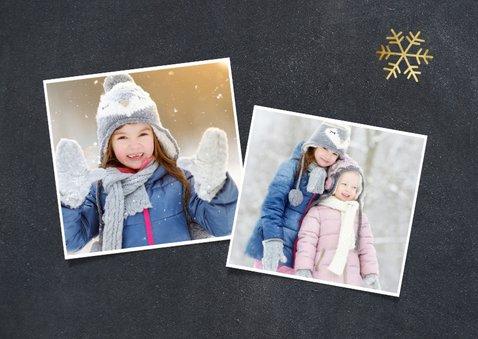 Weihnachtskarte mit Fotocollage und goldenen Schneeflocken 2
