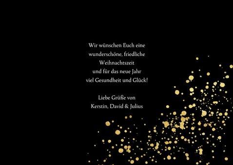 Weihnachtskarte mit Fotos auf Schwarz mit Gold-Konfetti  3