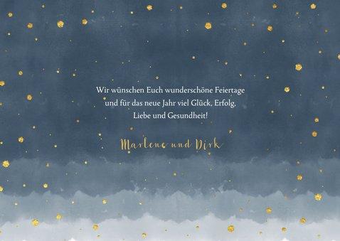 Weihnachtskarte mit Fotos dunkelblau mit Sternen 3