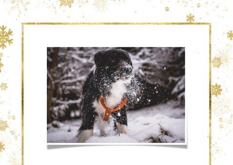 Weihnachtskarte mit Fotos und goldenen Schneeflocken 2