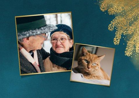 Weihnachtskarte mit großem Foto und goldenen Tannenzweigen 2