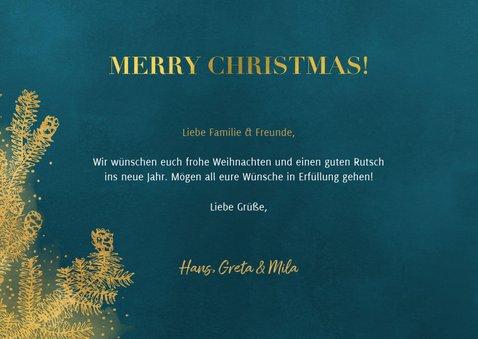 Weihnachtskarte mit großem Foto und goldenen Tannenzweigen 3