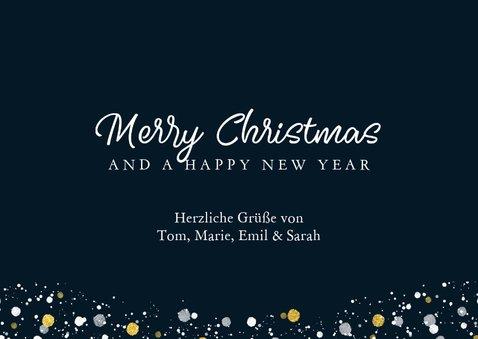 Weihnachtskarte mit großem Foto und Tupfen weißgold 3